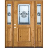 Half Lite Star Knotty Alder Wood Door Unit with Sidelites #40