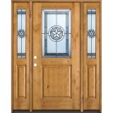 Half Lite Star Knotty Alder Wood Door Unit with Sidelites #40