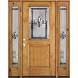 Half Lite Fleur-de-lis Knotty Alder Wood Door Unit with Sidelites #41