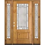 3/4 Lite Knotty Alder Wood Door Unit with Sidelites #67
