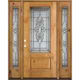 3/4 Lite Knotty Alder Wood Door Unit with Sidelites #73