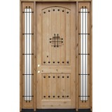 "8'0"" Tall Rustic Knotty Alder Wood Door Unit with Sidelites #UK20"