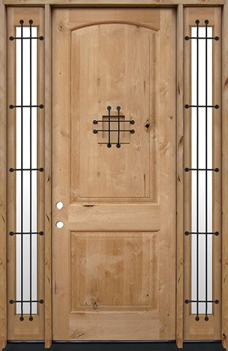 "8'0"" Tall Rustic Knotty Alder Wood Door Unit with Sidelites #UK26"