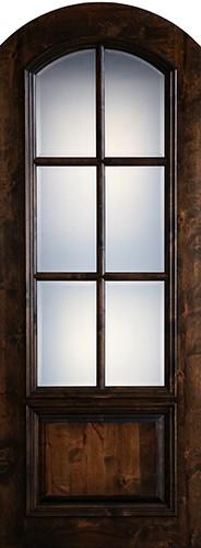 "Preston 36"" x 8'0"" 6-Lite Low-E Arch Top Knotty Alder Wood Door Slab"