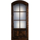 "Preston 42"" x 8'0"" 6-Lite Low-E Arch Top Knotty Alder Wood Door Slab"