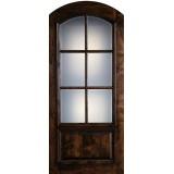 "Preston 42"" x 8'0"" 6-Lite Low-E Arch Top Knotty Alder Wood Door Slab"