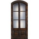 "Preston 42"" x 8'0"" 6-Lite Low-E 2-Panel Wide Mullion Arch Top Knotty Alder Wood Door Slab"