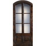 "Preston 42"" x 8'0"" 6-Lite Low-E 2-Panel Wide Mullion Arch Top Knotty Alder Wood Door Slab"