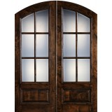 "Preston 8'0"" Tall 6-Lite Low-E Knotty Alder Arch Top Prehung Double Wood Door Unit"