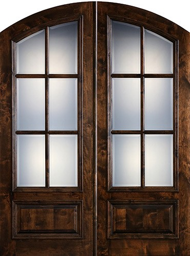 "Preston 8'0"" Tall 6-Lite Low-E Knotty Alder Arch Top Prehung Double Wood Door Unit"