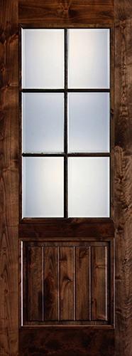"Preston 36"" x 8'0"" 6-Lite Low-E Knotty Alder Wood Door Slab"