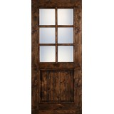 "Preston 36"" x 6'8"" 6-Lite Low-E Knotty Alder Wood Door Slab"