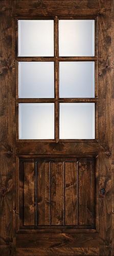 "Preston 36"" x 6'8"" 6-Lite Low-E Knotty Alder Wood Door Slab"