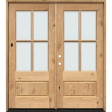 4-Lite Low-E Knotty Alder Prehung Wood Double Door Unit