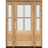 4-Lite Low-E Knotty Alder Prehung Wood Door Unit with Sidelites