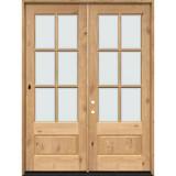 "8'0"" Tall 6-Lite Low-E Knotty Alder Prehung Wood Double Door Unit"
