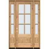 """8'0"""" Tall 6-Lite Low-E Knotty Alder Prehung Wood Door Unit with Sidelites"""