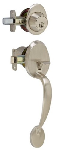 Bordeaux Exterior Door Handle Lockset Satin Nickel