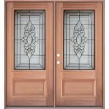 3/4 Lite Mahogany Prehung Double Wood Door Unit #UM73