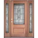 3/4 Lite Mahogany Prehung Wood Door Unit with Sidelites #UM73
