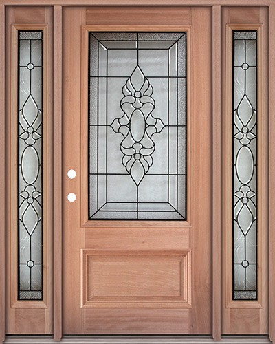 3/4 Lite Mahogany Prehung Wood Door Unit with Sidelites #UM73