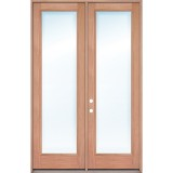"""8'0"""" Full Lite Low-E Mahogany Prehung Wood Double Door Patio Unit"""