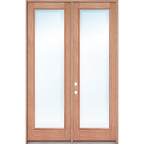 "8'0"" Full Lite Mahogany Prehung Wood Double Door Patio Unit"