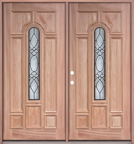 Center Arch Mahogany Prehung Double Wood Door Unit #UM58