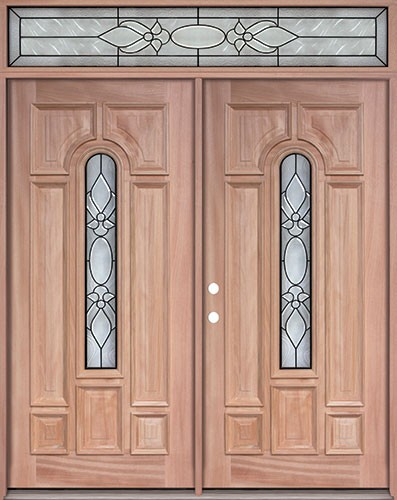 Center Arch Mahogany Prehung Wood Double Door Unit