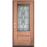 3/4 Lite Mahogany Prehung Wood Door Unit #UM73