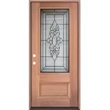 3/4 Lite Mahogany Prehung Wood Door Unit #UM73
