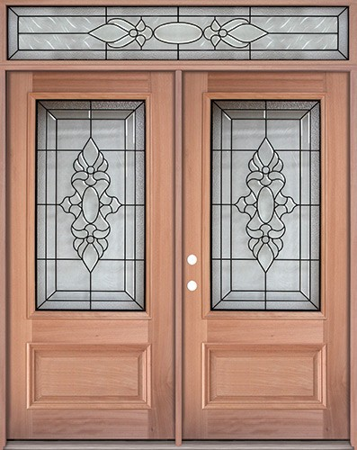 3 4 Lite Mahogany Prehung Wood Double Door Unit With Transom Um73