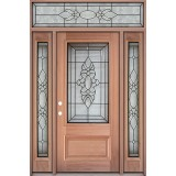 3/4 Lite Mahogany Prehung Wood Door Unit with Transom #UM73