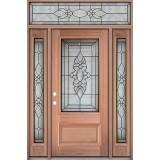3/4 Lite Mahogany Prehung Wood Door Unit with Transom #UM73
