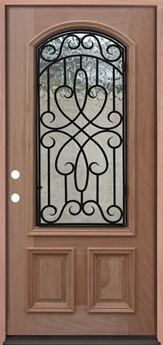 2/3 Arch Grille Mahogany Prehung Wood Door Unit #A623FA
