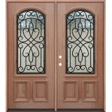 2/3 Arch Grille Mahogany Prehung Double Wood Door Unit #A623FA