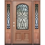 2/3 Arch Grille Mahogany Prehung Wood Door Unit with Sidelites #A623FA