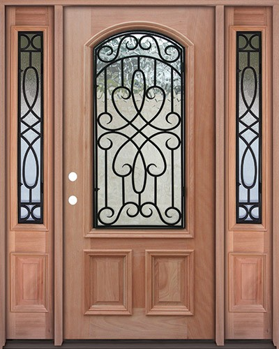Cheap 2 3 Arch Grille Mahogany Prehung Wood Door Unit With