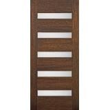Hamilton Modern 5-Lite Mahogany Wood Door Slab #71131