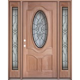 3/4 Oval Mahogany Prehung Wood Door Unit with Sidelites #UM64