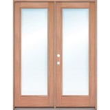 Full Lite Mahogany Prehung Wood Double Door Patio Unit