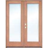 Full Lite Low-E Mahogany Prehung Wood Double Door Patio Unit
