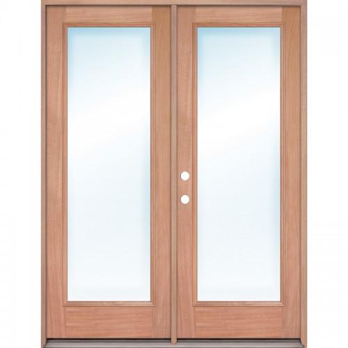 Full Lite Mahogany Prehung Wood Double Door Patio Unit