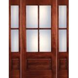 Preston 4-Lite Low-E 1-Panel Mahogany Prehung Wood Door Unit with Sidelites