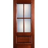 Preston 4-Lite Low-E 1-Panel Raised Mahogany Wood Door Slab