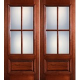Preston 4-Lite Low-E 1-Panel Raised Mahogany Prehung Wood Double Door Unit