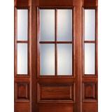 Preston 4-Lite Low-E 1-Panel Raised Mahogany Prehung Wood Door Unit with Sidelites