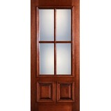 Preston 4-Lite Low-E 2-Panel Raised Mahogany Wood Door Slab