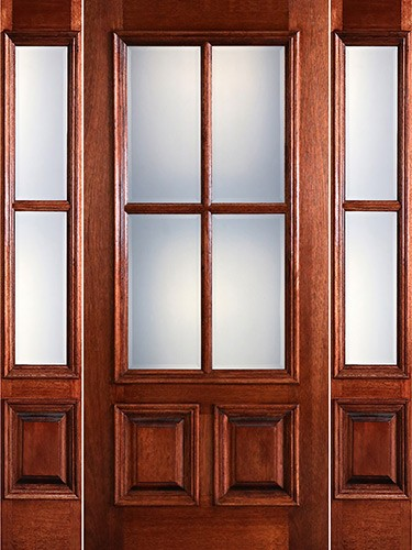 Preston 4-Lite Low-E 2-Panel Raised Mahogany Prehung Wood Door Unit with Sidelites