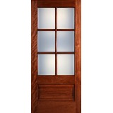 Preston 6-Lite Low-E 1-Panel Mahogany Wood Door Slab